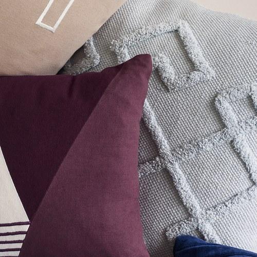丹麥Hubsch 古典菱紋方型靠枕 (水藍)
