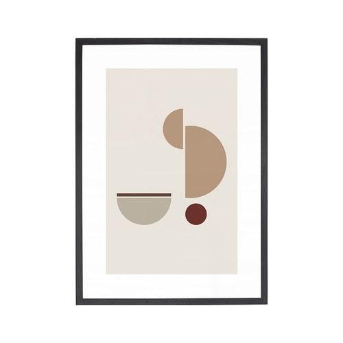 丹麥Hubsch 半圓抽象藝術掛畫 (粉)