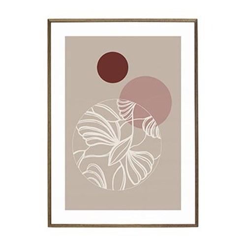 丹麥Hubsch 藏花鏡藝術線條掛畫 (粉)