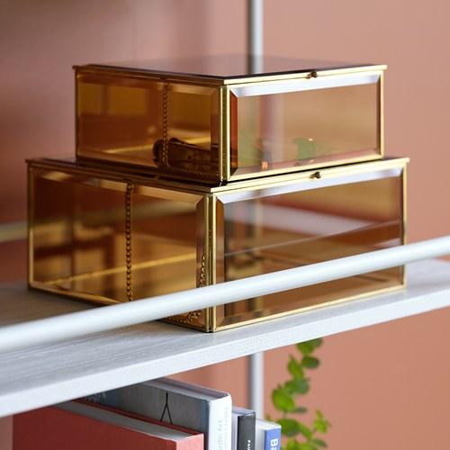 丹麥Hubsch 琥珀玻璃方型收納盒2入組