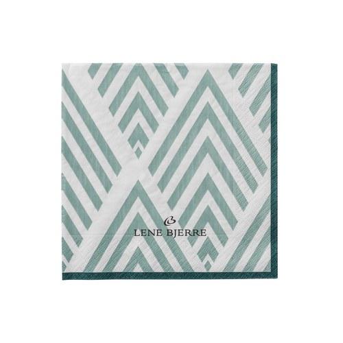丹麥LeneBjerre 白綠線條餐巾紙