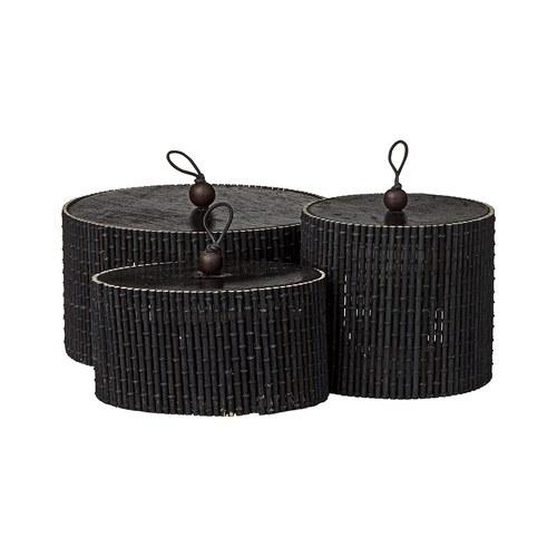 丹麥LeneBjerre 墨黑竹製收納盒 (3入組)