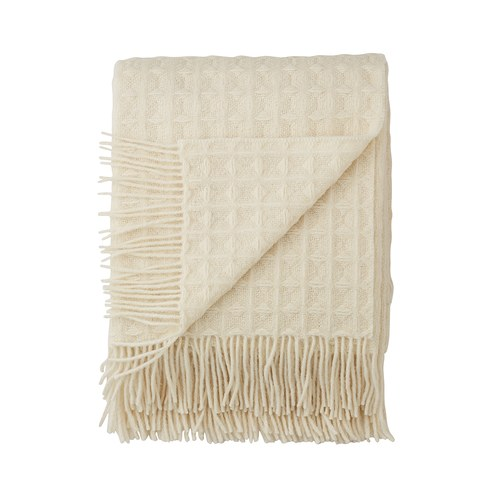 丹麥LeneBjerre 羊毛格紋流蘇薄毯 (米白)