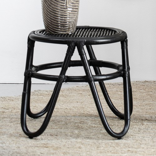丹麥Lene Bjerre 藤編造型圓形邊桌 (黑、直徑60公分)