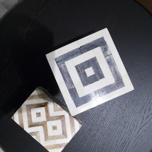 丹麥Lene Bjerre 骨瓷拼貼方形收納盒 (深灰)