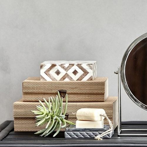 丹麥Lene Bjerre 骨瓷拼貼長方形收納盒 (灰褐)
