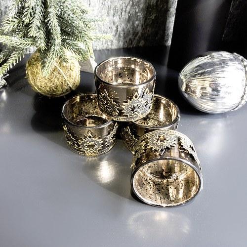 丹麥LeneBjerre 神聖刻花紋聖誕夜奉獻蠟燭台(黃銅霧金)