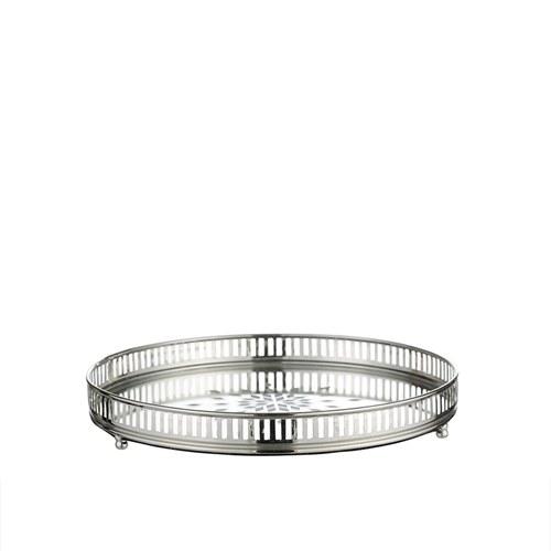丹麥LeneBjerre 鏤空銀雕鏡射托盤(直徑25公分)