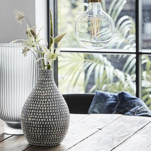 丹麥LeneBjerre 編織刻紋陶瓷花器 (灰藍、高22公分)