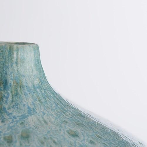 丹麥LeneBjerre 海潮刻紋陶瓷花器 (水藍、高34公分)