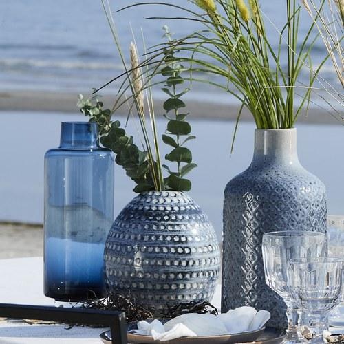 丹麥LeneBjerre 圓點刻紋陶瓷花器 (深藍、高20公分)