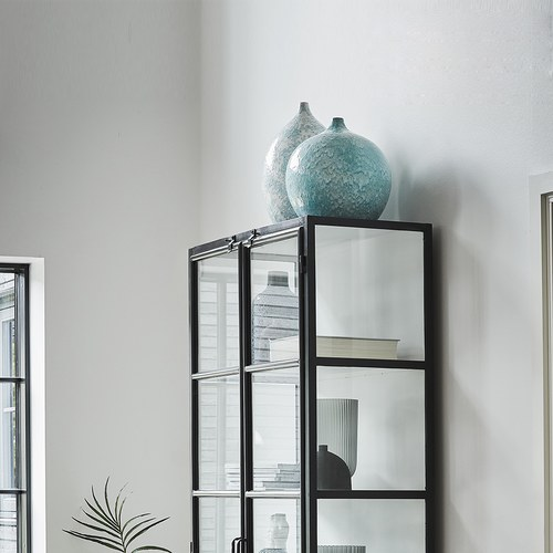 丹麥LeneBjerre 海潮刻紋陶瓷花器 (水藍、高44公分)