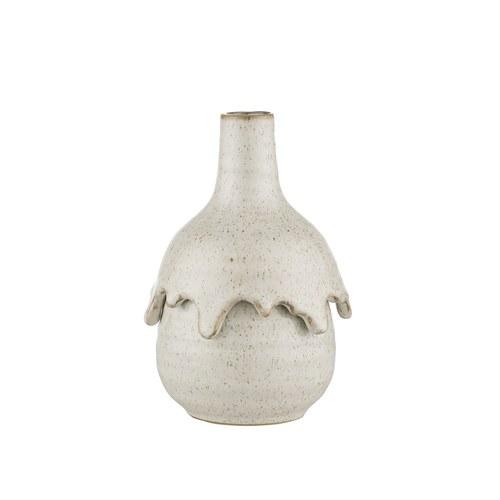 丹麥Lene Bjerre 手工細沙紋花器 (白、高15.5公分)