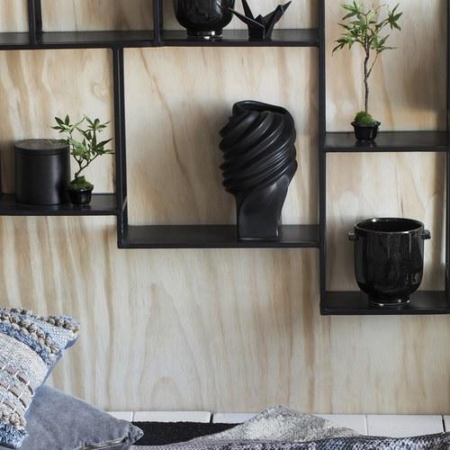 丹麥Lene Bjerre 立體螺紋柱狀花器 (黑、高23公分)