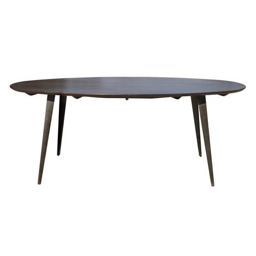 丹麥 Nordal 簡約橢圓餐桌/橢圓桌/深木色