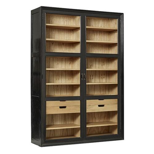 丹麥 Nordal 木質黑色雙門書櫃