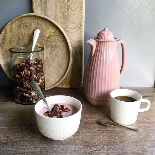 丹麥Nordal 多立克柱式保溫咖啡壺 (粉)