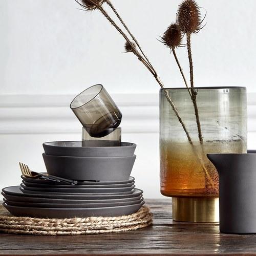 丹麥Nordal 仿石陶瓷餐碗 (黑、直徑16公分)