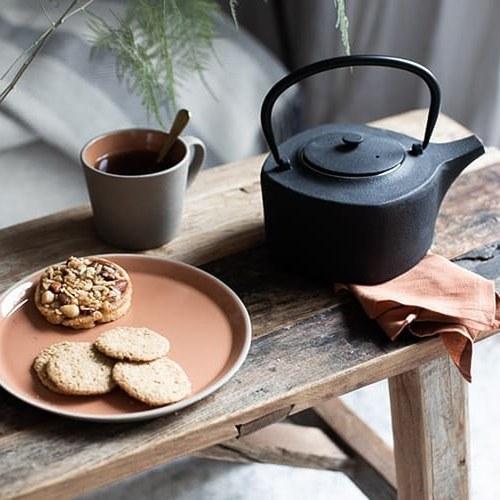 丹麥Nordal 仿石陶瓷餐盤 (橘、直徑27公分)