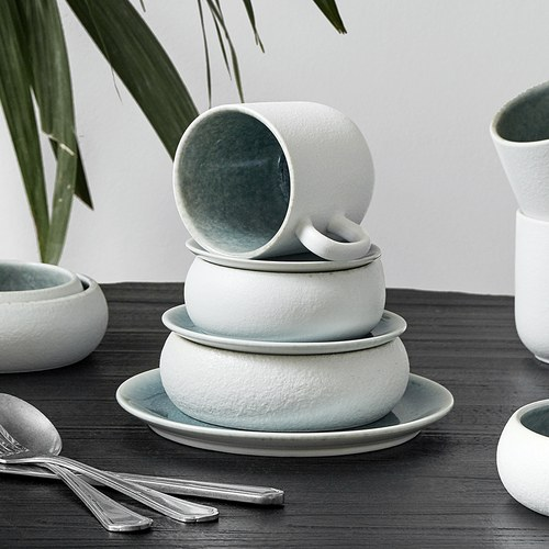 丹麥Nordal 磨砂白陶瓷碗盤組 (藍、直徑9.5公分)