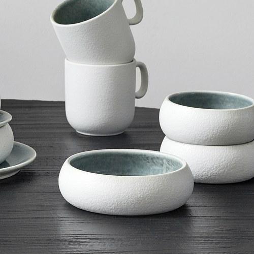丹麥Nordal 磨砂白陶瓷碗盤組 (藍、直徑12公分)