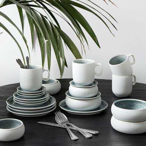 丹麥Nordal 磨砂白陶瓷餐盤 (藍、直徑19公分)