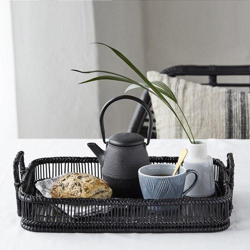丹麥Nordal 編織風竹籃托盤2入組 (黑)