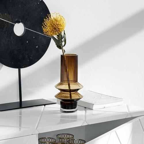 丹麥Nordal 羅馬柱藝術玻璃花器 (棕、高21公分)