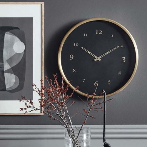 丹麥Nordal 質感黑金圓形掛鐘 (直徑51公分)
