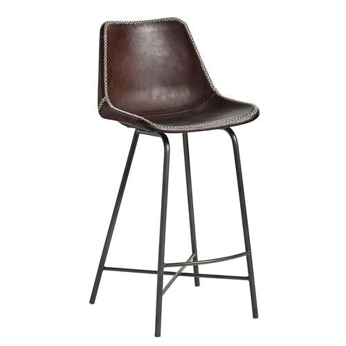 丹麥Nordal 工業風皮革高腳吧台椅 (棕)