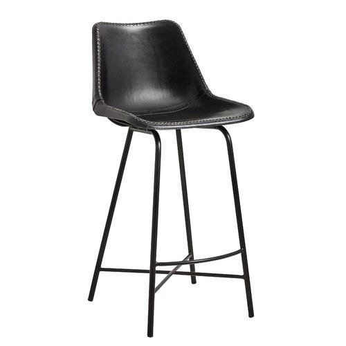 丹麥Nordal 工業風皮革高腳吧台椅 (黑)