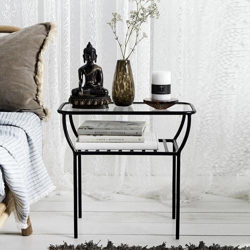 丹麥Nordal 捧花弧形金屬邊桌 (黑)