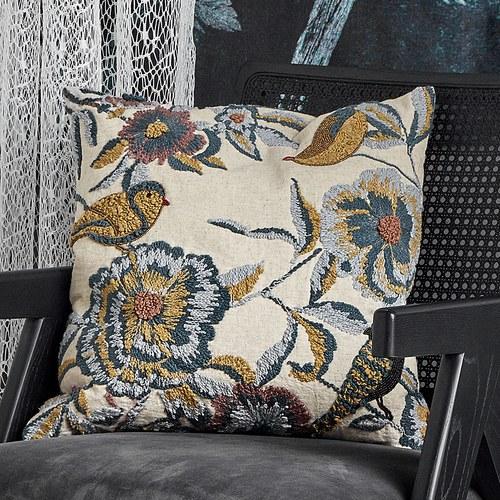 丹麥Nordal 藍花與鳥刺繡靠枕