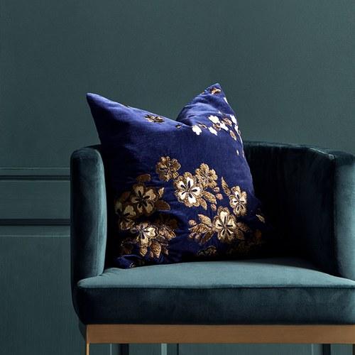 丹麥Nordal 金色花叢刺繡靠枕