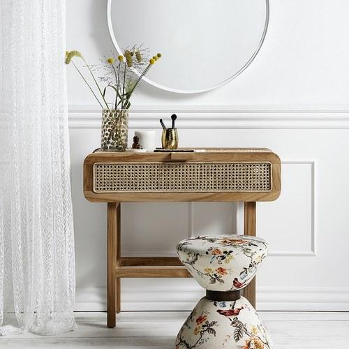 丹麥Nordal 簍空編織柚木邊櫃