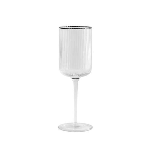 丹麥Nordal 銀圈皺褶紅酒杯(360毫升)