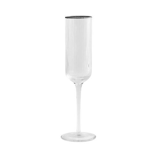 丹麥Nordal 銀圈皺褶香檳杯(200毫升)