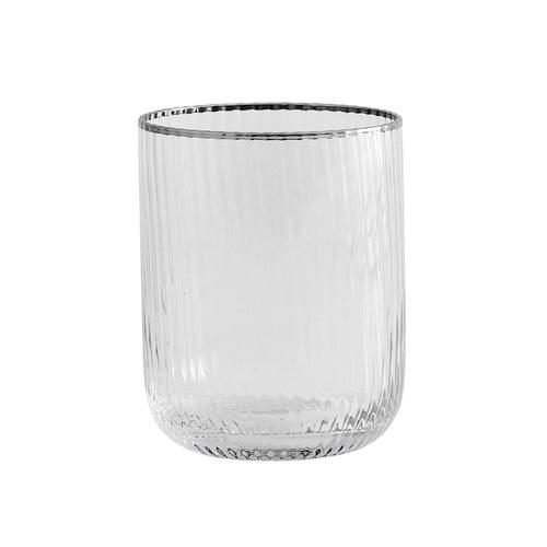 丹麥Nordal 銀圈皺褶玻璃水杯(380毫升)