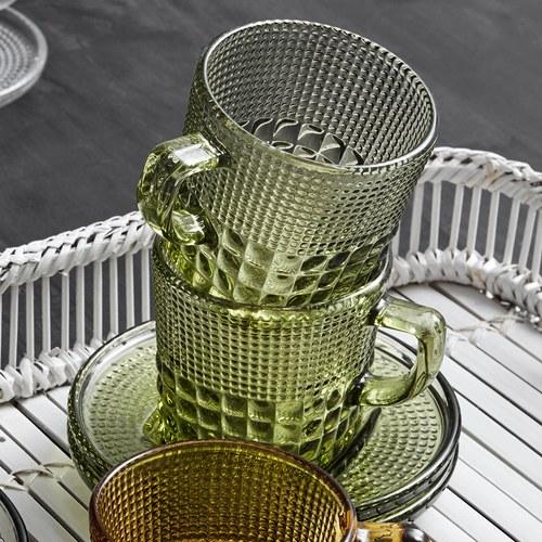 丹麥Nordal 馬賽克霧感玻璃杯盤組(草綠)