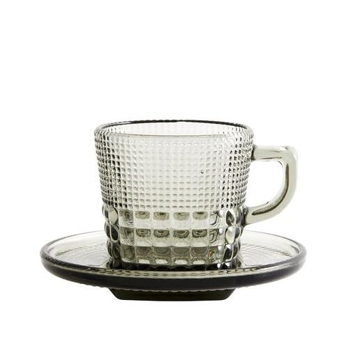 丹麥Nordal 馬賽克霧感玻璃杯盤組(煙灰)