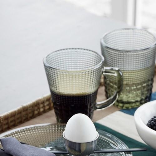丹麥Nordal 馬賽克霧感玻璃馬克杯(煙灰)