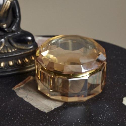 丹麥Nordal 琥珀色水晶玻璃收納盒