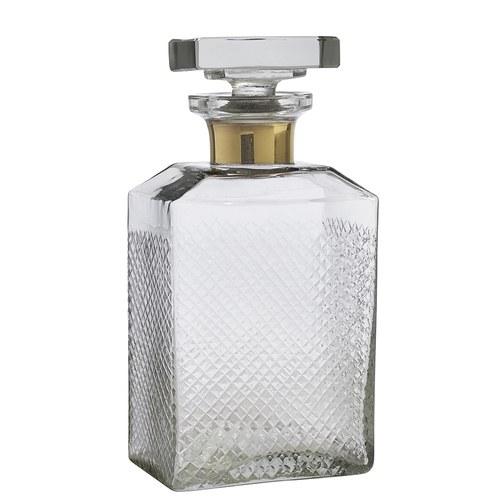 丹麥Nordal 鑲金圈切割花紋玻璃醒酒器 (大)