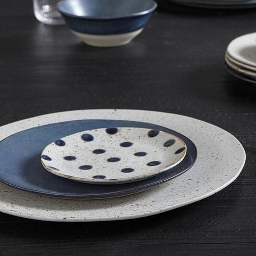 丹麥Nordal 復古點點蛋糕盤 (藍莓、直徑14.5公分)