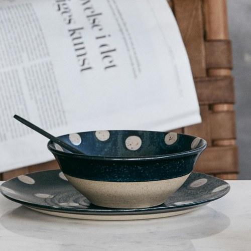 丹麥Nordal 復古點點穀物麥片碗 / 餐碗 (雪點)