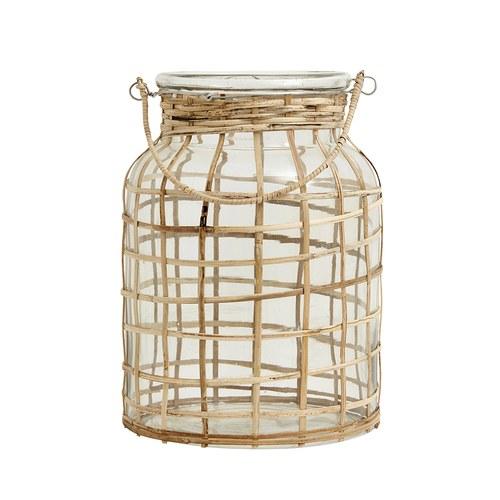 丹麥Nordal 原野風情竹編玻璃罩燭台