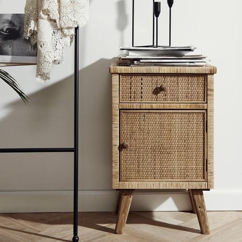 丹麥Nordal 鄉村風編織床頭櫃