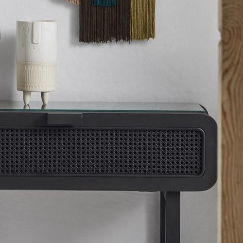 丹麥Nordal 簍空編織柚木邊櫃 (黑)