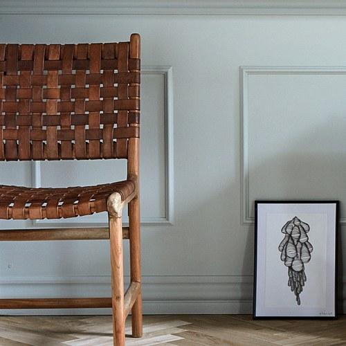 丹麥Nordal 皮革編織相思木雕刻單椅 (咖紅)