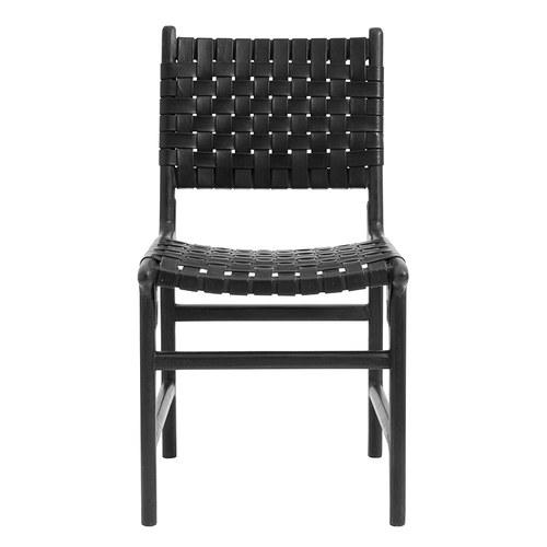 丹麥Nordal 皮革編織相思木雕刻單椅 (黑)